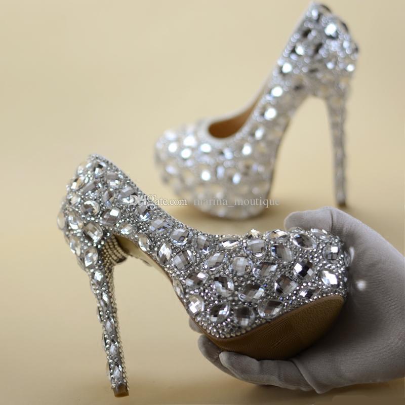Scarpe Da Sposa Con Brillantini.Acquista Scarpe Da Sposa Con Strass Cristallo Scarpe Da Donna Con