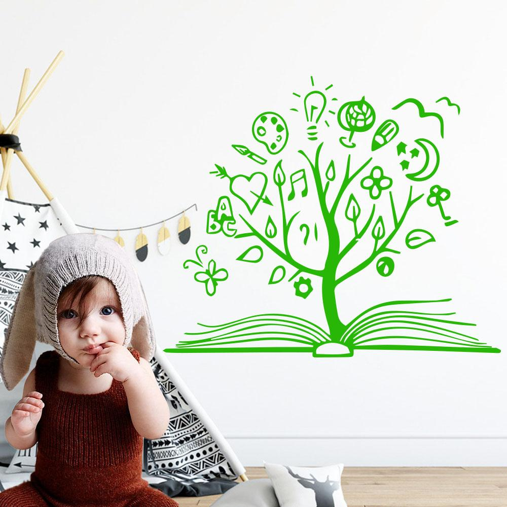 Book Tree Wall Decal Library School Vinyl Sticker Unique Home Art Decor  Reading Room Decoration Mural