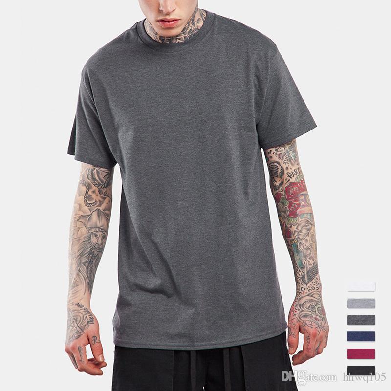 9d565778bbc3f Compre Camiseta Lisa Para Hombres Camiseta Manga Corta Multicolor 100% Algodón  Camisetas Camiseta Bricolaje Alta Calidad Para Hombres Tallas Grandes Tops  S ...