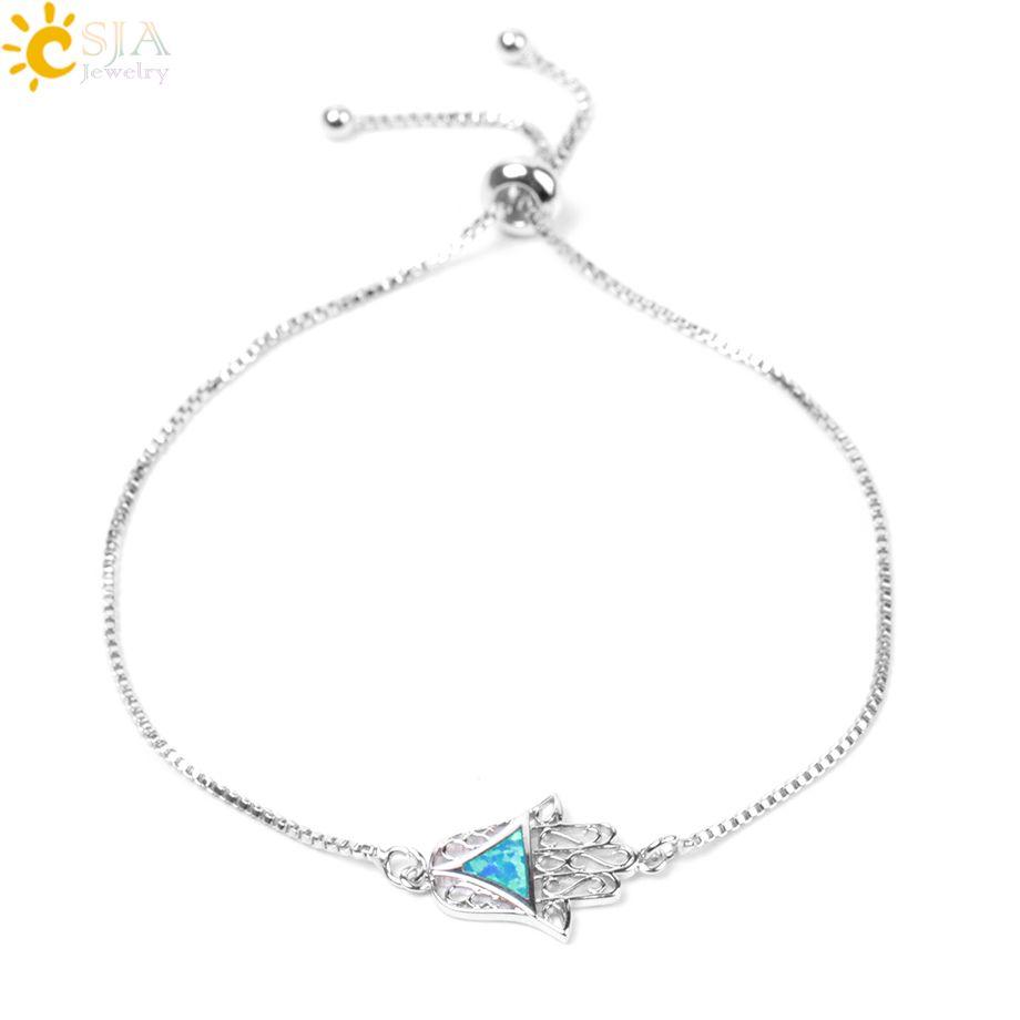 CSJA Turkish Lucky Hamsa Hand Bracelet Judaica Kabbalah Fatima Adjustable Charm Opal Bracelets Silver Color Chain Women Amulet Jewelry E972