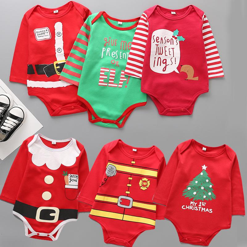 7315d1c0e77 2019 Kids Christmas Clothing Red Green Baby Rompers Infant Long Sleeved  Jumpsuits Toddler Santa Print Rompers Warm Bodysuits Baby Clothes AAA1060  From ...
