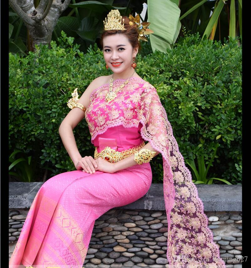 0f6df254f Thailand Laos Myanmar Traditional Dai costume women's suits retro water  conservancy Festival life dress festival costumes Minority clothing