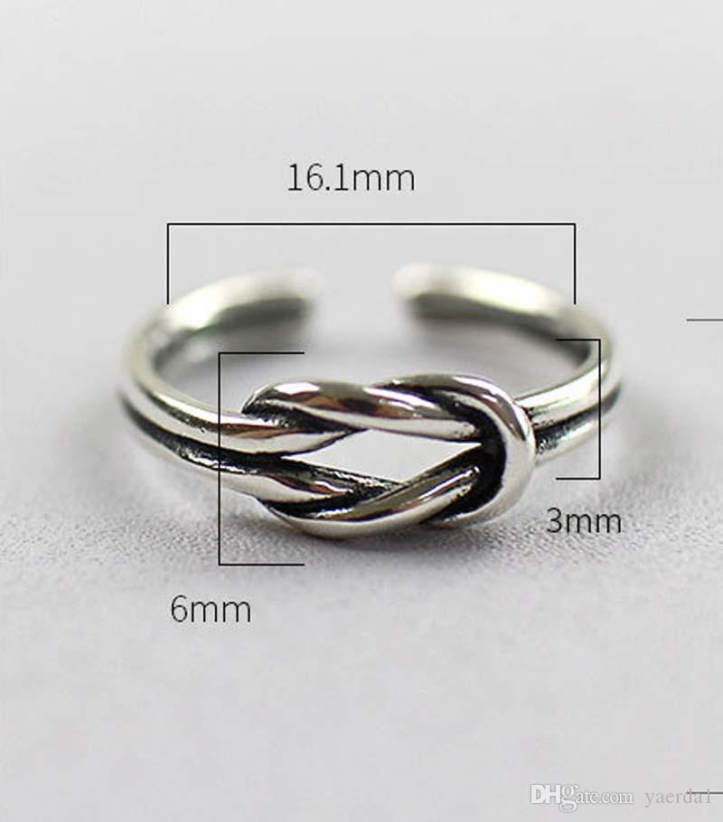 Korean S925 sterling silver fashion double knot antique old personality open silver ring ring gold chain necklace jewelry silicone bracelets