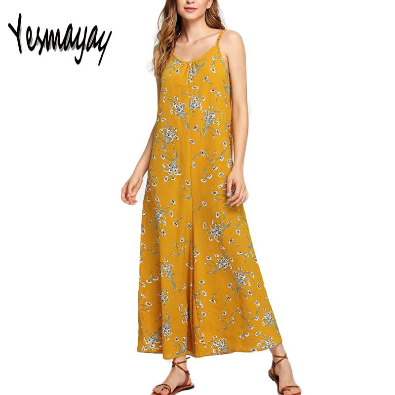 ad7bd023c1f 2019 Summer Rompers Culotte Womens Jumpsuit 2018 Fashion Floral Print  Spaghetti Strap Long Playsuit Casual Loose Wide Leg Bodysuit From Avive