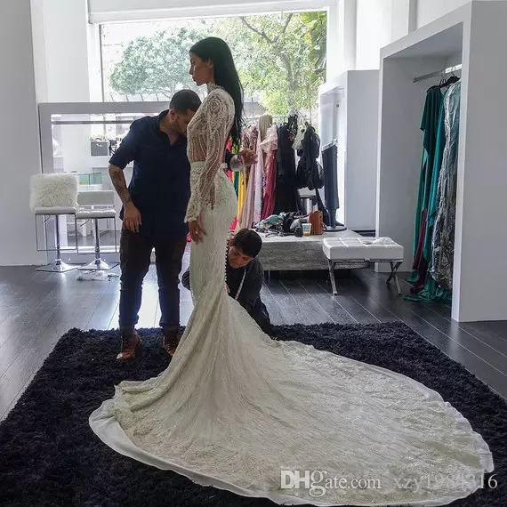 High Neck Mermaid Wedding Dresses 2018 Brand New Fashion Long Sleeves Pearls Appliques Bridal Dresses Sexy Backless Lace Long Wedding Gown