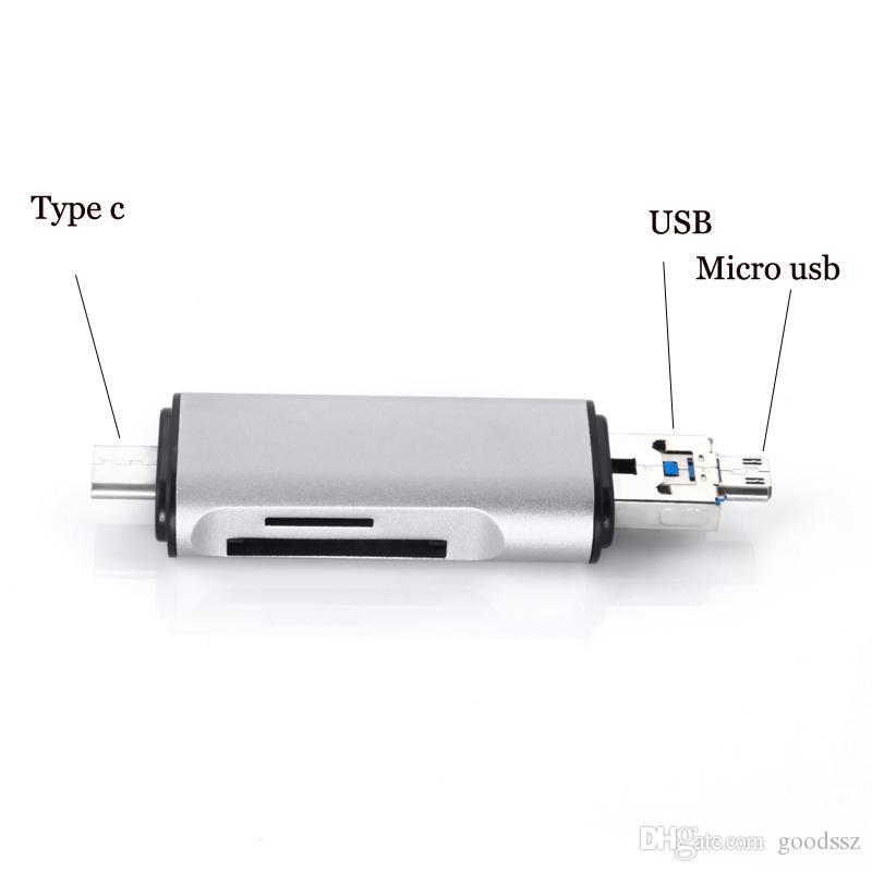 3 인치 금속 카드 판독기 USB 타입 C 마이크로 USB OTG 카드 판독기 2 개 SD Micro SD SDHC SDXC TF 카드 판독기 용 슬롯