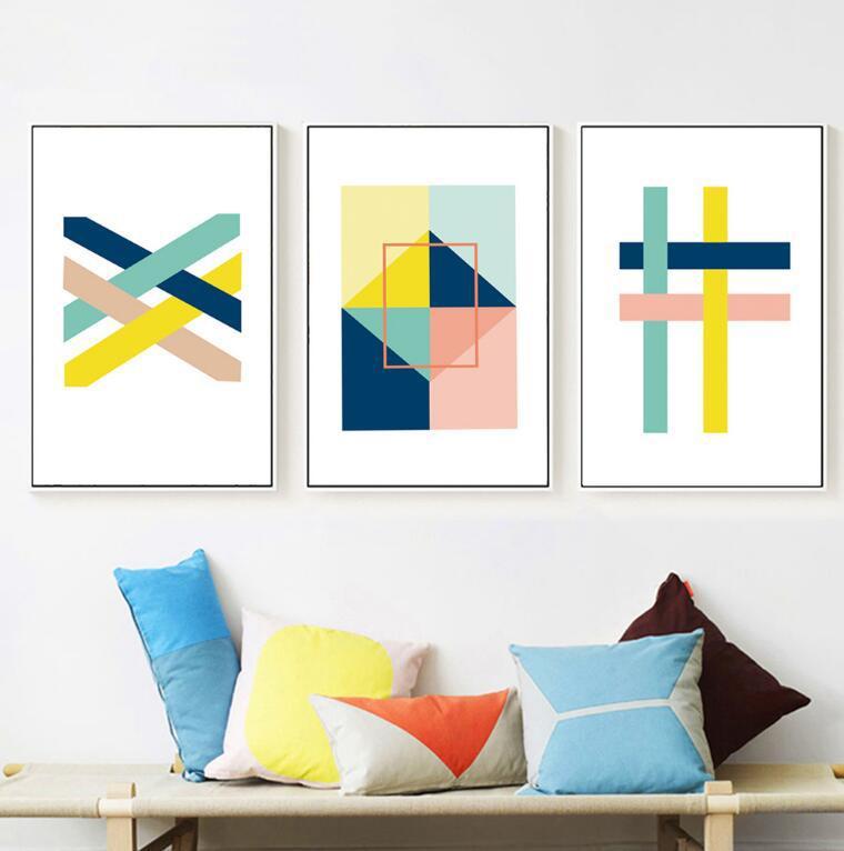 Satın Al Soyut Geometrik şekiller Boyama Ve Parlak Renkler Nordic
