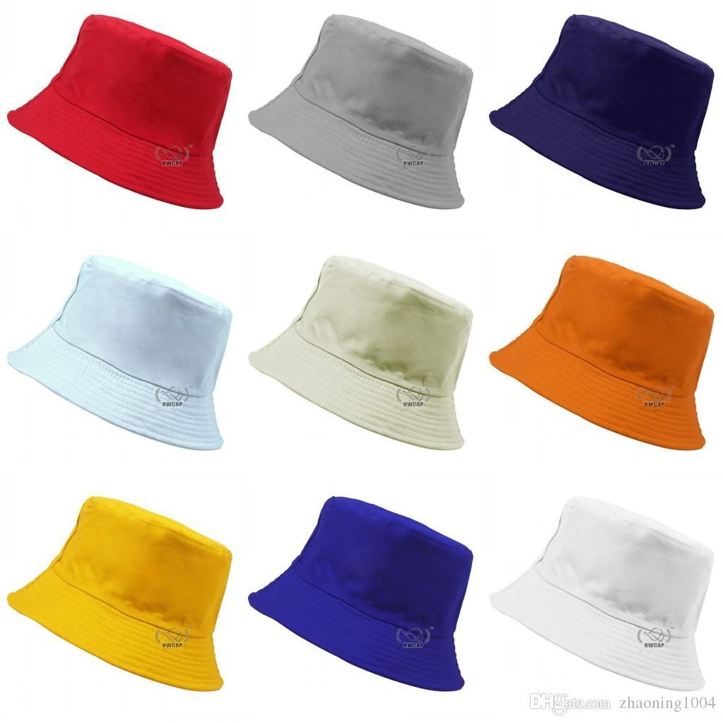 fc742c543c3 Designer Plain Cotton Foldable Bucket For Mens Womens Summer Packable Blank  Beach Hats Designer Solid Color Sports Brim Custom Fishing Cap Blank Hats  Bucket ...