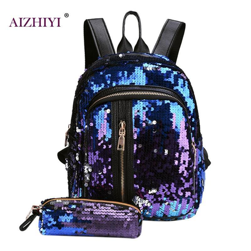 2019 FashionGlitter Sequins Backpack New Teenage Girls Fashion Bling  Rucksack Students School Bag With Pencil Case Clutch Mochilas Cheap  Backpacks Rolling ... 53f443befb