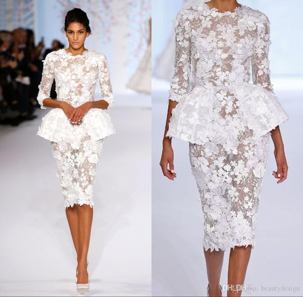 10a2528c89 2018 White Evening Dresses Wear Long Sleeve Knee Length Short Prom Lace  Floral Haute Couture Ralph Russo Peplum Sheath Formal Gowns