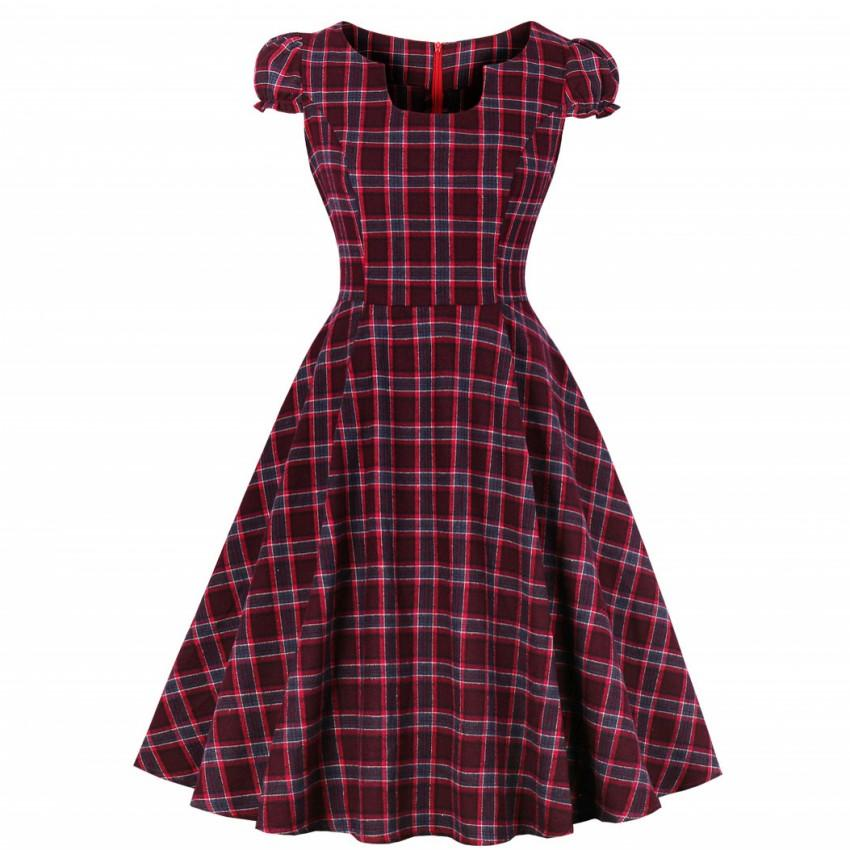 S-4XL Women Robe Pin Up Dress Retro 2019 Vintage 50s 60s Rockabilly Plaid Swing Summer Female Dresses Elegant Tunic Vestido