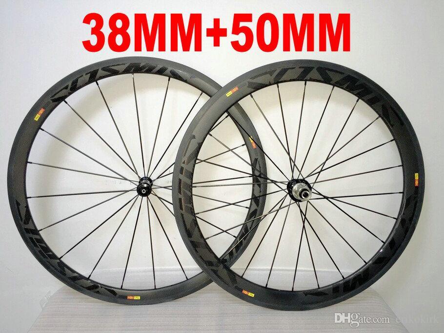 Black on Black COSMIC 38MM+ 50MM 700c carbon fiber wheelset 700C road bike full carbon bicycle wheels