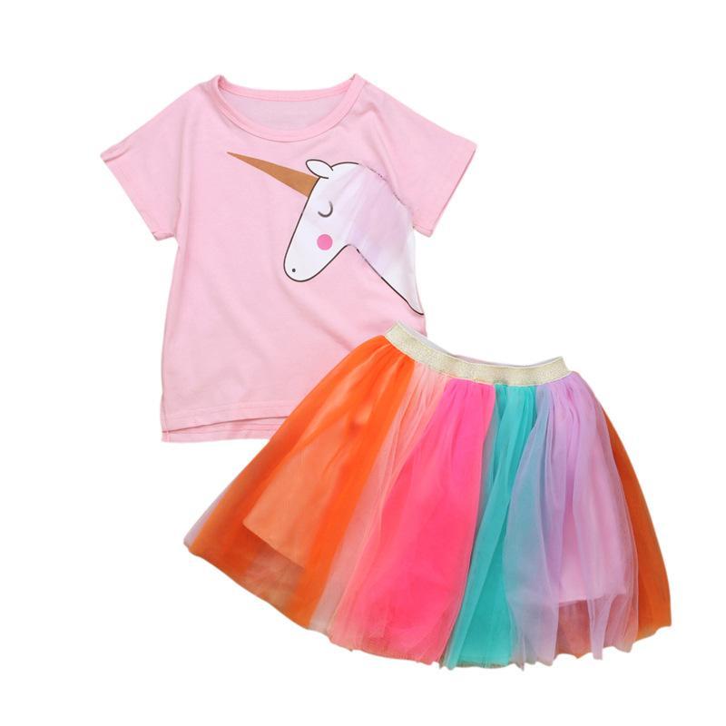 abffd8ac6 Baby Girls Unicorn Dress Princess 2PCS Falda y camiseta Rainbow Tutu Ropa  para niños Vestidos de fiesta para niños