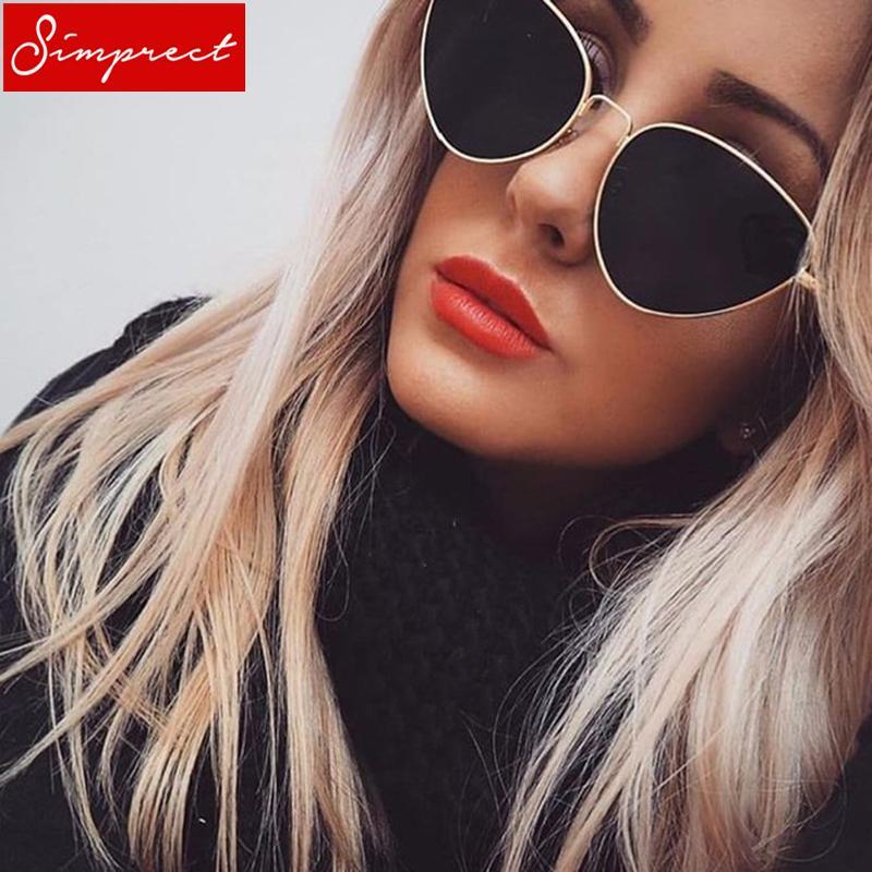 Compre Simptic 2018 Cat Eye Sunglasses Mulheres Armação De Metal Uv400  Retro Óculos De Sol Designer De Marca De Luxo Do Vintage Lunette De Soleil  Femme De ... 492dcdcb15