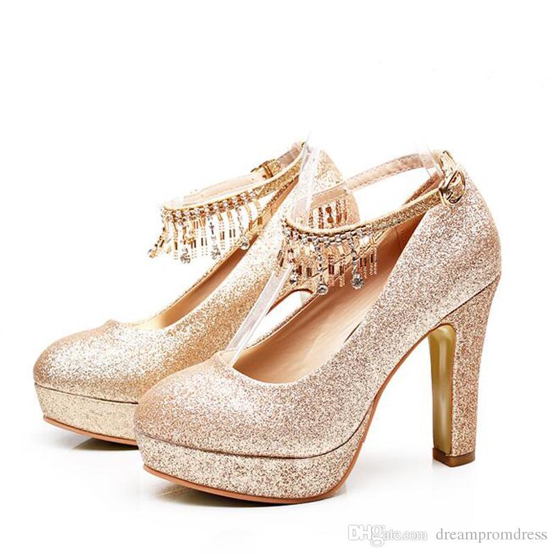 45651a7d1b89 Gold Wedding Shoes Foe Bride Chunky Heel Fashion Designer Women Shoes High  Heel Bridal Crystal Shoes Bride Shoes Designer Wedding Shoes From  Dreampromdress
