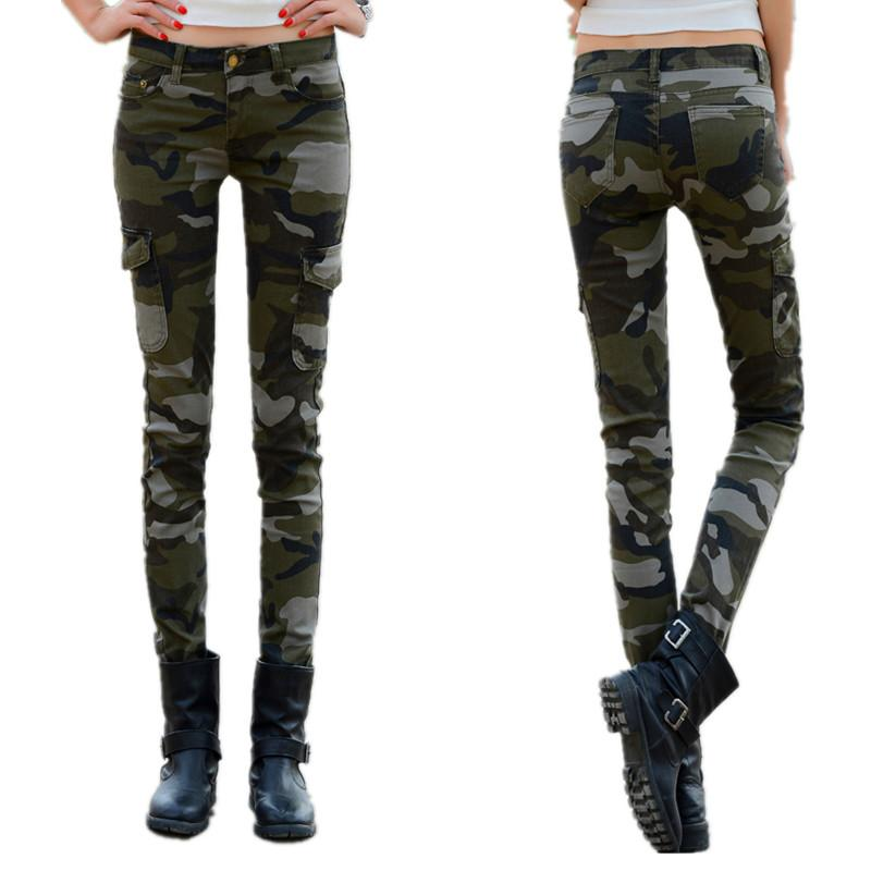 dc528c4685f 2019 Camouflage Skinny Stretch Pants Female Military Uniform Casual Trousers  Large Size 34 Cargo Pants Women From Herish