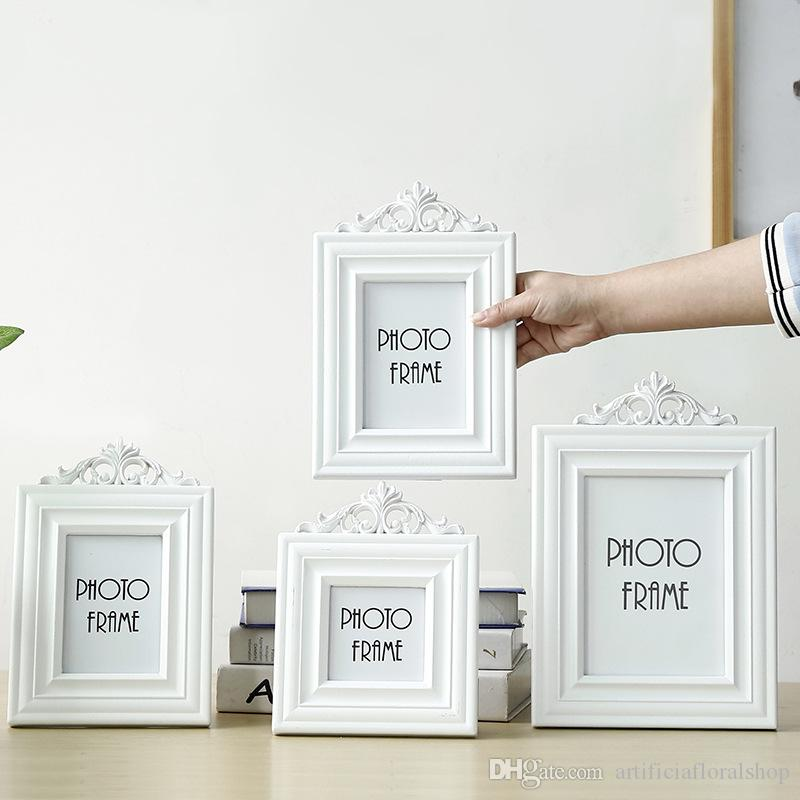 Creative Wooden Picture Photo Frame European Solid Wood Glass White ...