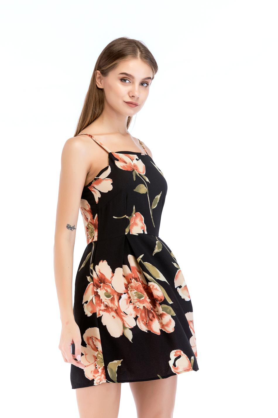 61e748f506d5c4 2018 New Summer Fashion Floral Printed Sleeveless Dresses Casual Harness  Dress Slim A Line Dress Women Dresses White Dress Women Black Dress Casual  From ...