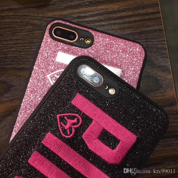 PINK Cover Fashion Design Glitter 3D Embroidery Love Pink Phone Case For iPhone XS MAX XR X 8 7 6 6S Plus Samsung S9 S8 Note 9 8