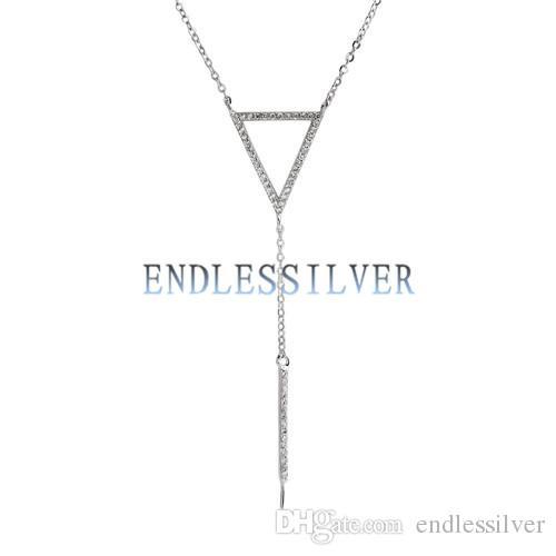 Girocollo in argento sterling 925 con zirconi a forma di triangolo collana di perle