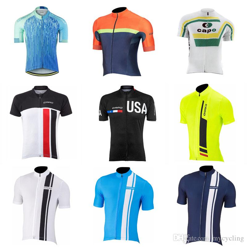 2018 Capo Summer Men S Cycling Jersey Quick Dry Short Sleeve Cycling  Clothing Cycle Wear With Full Length Zipper C2705 Cycle Shorts Cycling  Jerseys Men From ... 87bc4e9cd