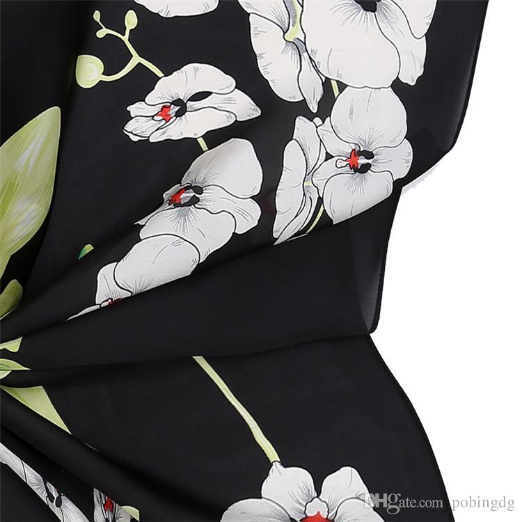 70cm*70cm 100% Twill Silk Scarf Women China Flowers Silk Foulard Square Scarves Office Lady Bandana Shawls Female Neckerchief