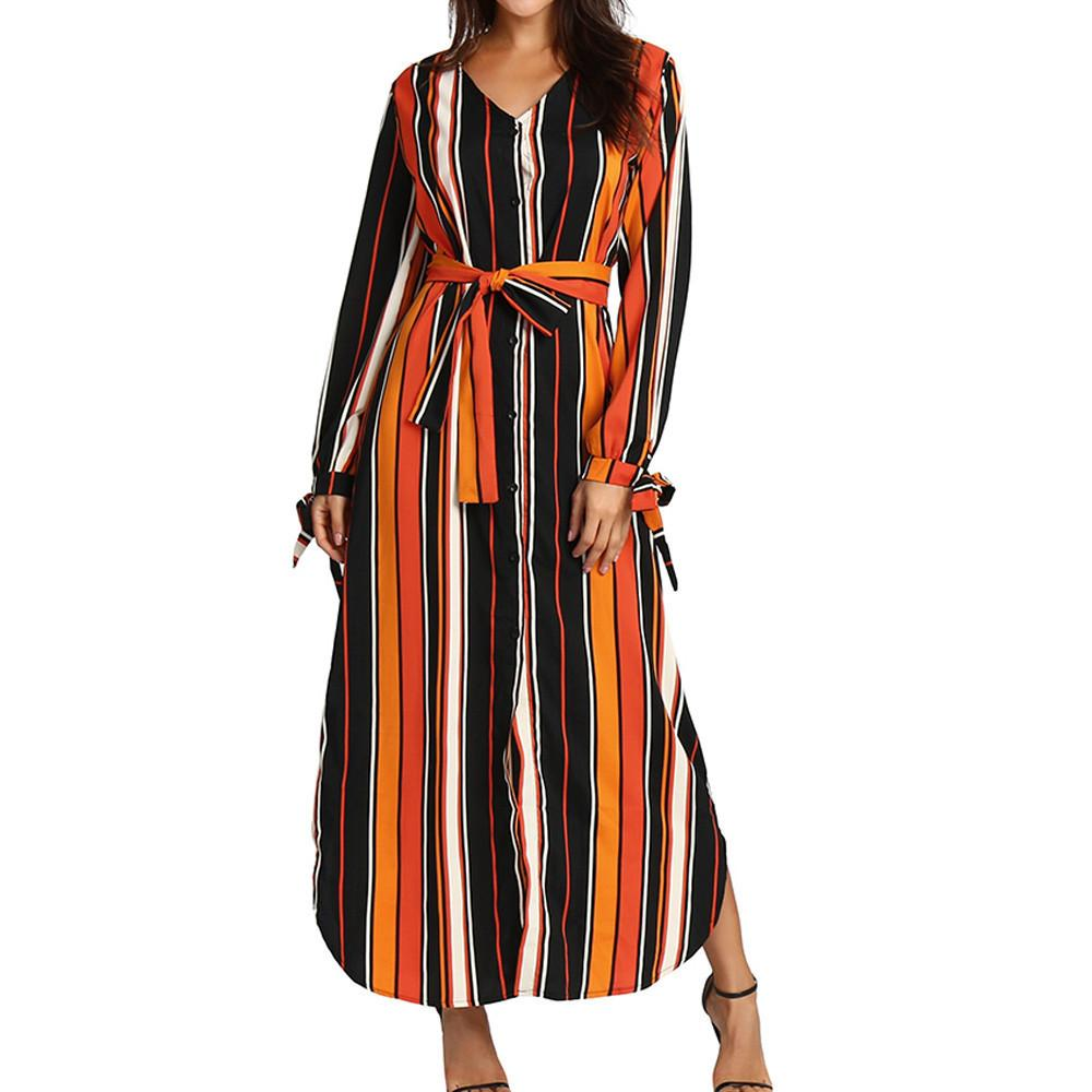 0c7e65d838b Feitong V Neck Button Front Striped Dress Multicolor Striped Long Sleeve  Maxi Dresses Women Bow Sleeves Belt Long Dress  VE Discount Cocktail Dresses  Cheap ...