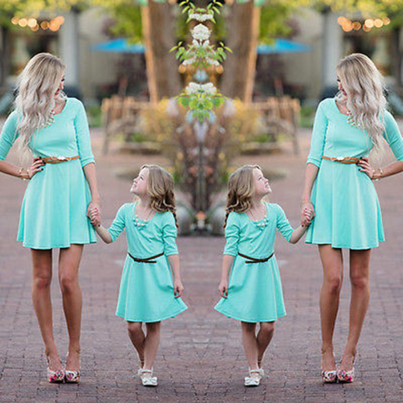 Mother Daughter Dress Family Look Half Sleeve Holiday Dresses For Mom And Daughter Family Clothing Family Matching Outfits