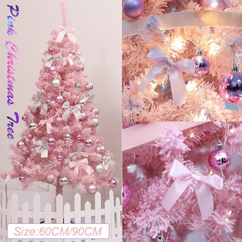 Cute Pink Christmas Tree Artificial Christmas Tree Xmas Party Holiday Ornament Home Decor Office Decorations