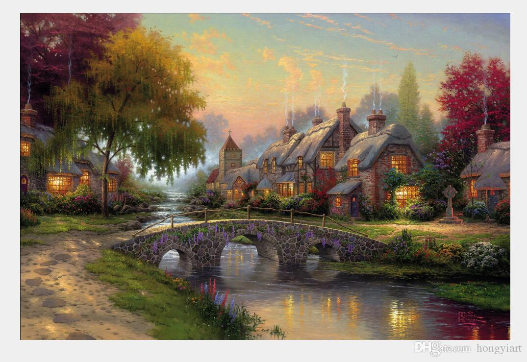 Thomas Kinkade Landscape Oil Paintings Mountain Paradise Reproduction  Giclee Print On Canvas Wall Art Modern Home Decoration Gift DHtms28 Wall  Art Home ...