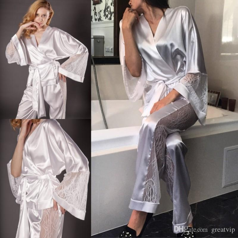 5bda32a47f 2019 Two Pieces Night Robe Bathrobe Lace Wedding Bride Bridesmaid Robes  Dressing Gown For Women Pajamas Sleepwear Pyjamas Trousers Petticoat  Material ...