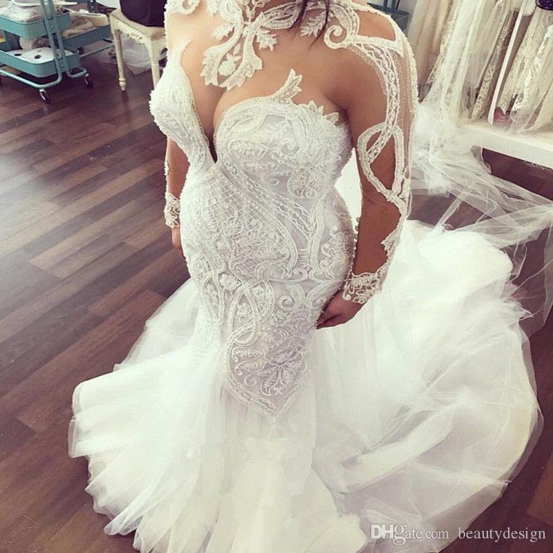 0612cc3b7dc22 2018 Modest Long Sleeves Mermaid Wedding Dresses Lace Appliqued High Neck  Bridal Gowns Sweep Train Vestidos de Novia Customize