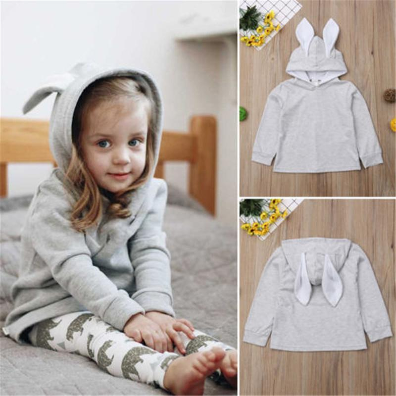 3247db2b1287 2019 Baby Girl Kids Cute Rabbit Ear Bunny Hoodie Long Sleeve Coat ...
