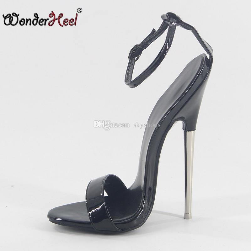 157e035f42e Wonderheel 2018 Summer Extreme High Heel 18cm Heel Black Patent Sexy Fetish High  Heel Ankle Straps Fashion Style Women Sandals Cheap Sandals Summer Sandals  ...