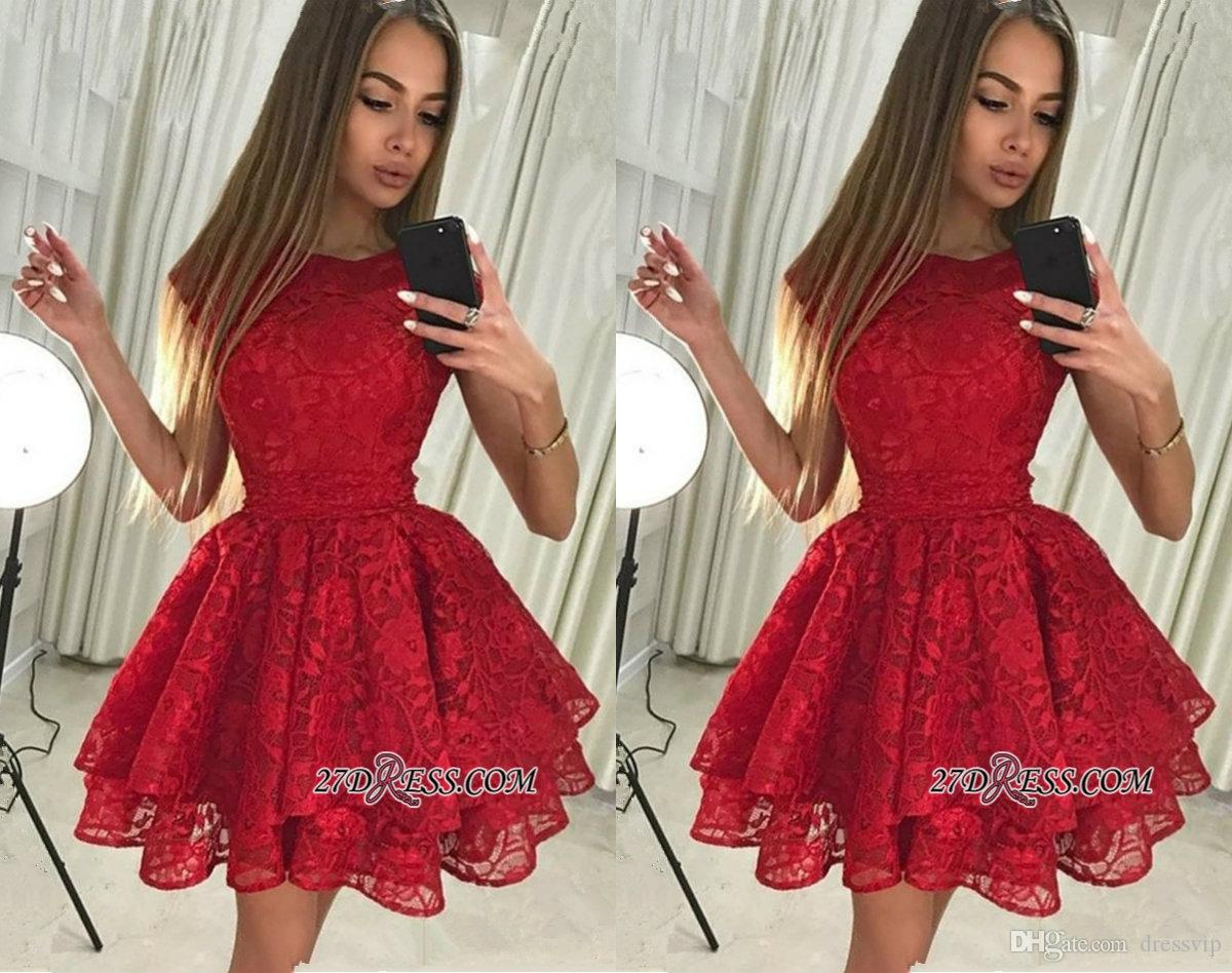 5d3cdf71ead Gorgeous Red Lace Homecoming Dress Jewel Neck Tiered Tulle Cap Sleeve Short  Mini Prom Dress Party Wear Cheap Cocktail Gowns Plus Size Shop Dresses  Online ...