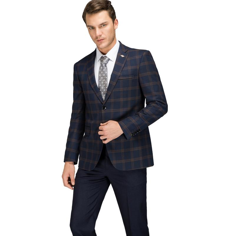 f434f9b698e09 Compre Trajes A Cuadros Para Hombre 2018 Último Abrigo Pantalón Diseñador  Rojo Azul Traje De Negocios Ajustado Slim Fit Traje De Hombre A Cuadros De  Alta ...