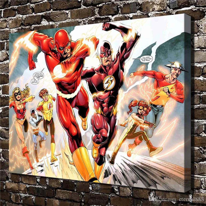 2019 Oil Painting Hd Print Dc Comics The Flash 24x32inch Wall Art