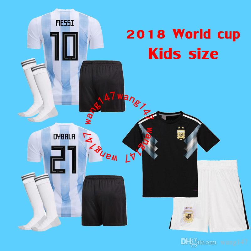 free shipping 06843 a2626 2018 Kids kit Messi Argentina away Soccer Jersey 2018 world cup youth boy  Child Argentina jerseys Home soccer Shirt kun Aguero Di Maria