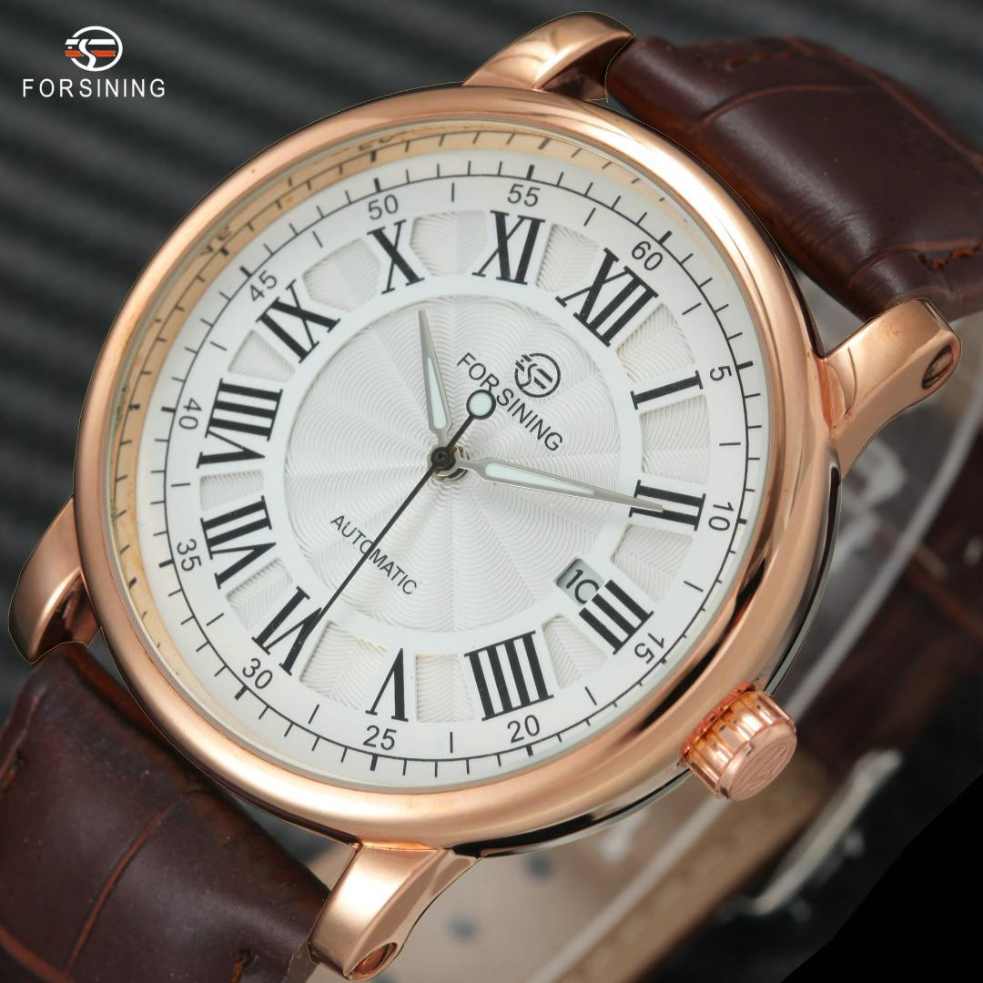 FORSINING Vintage Classic Auto Calendar Watches Men Roman Numerals Dial  Leather Band Luminous Hands Luxury Mechanical Wristwatch
