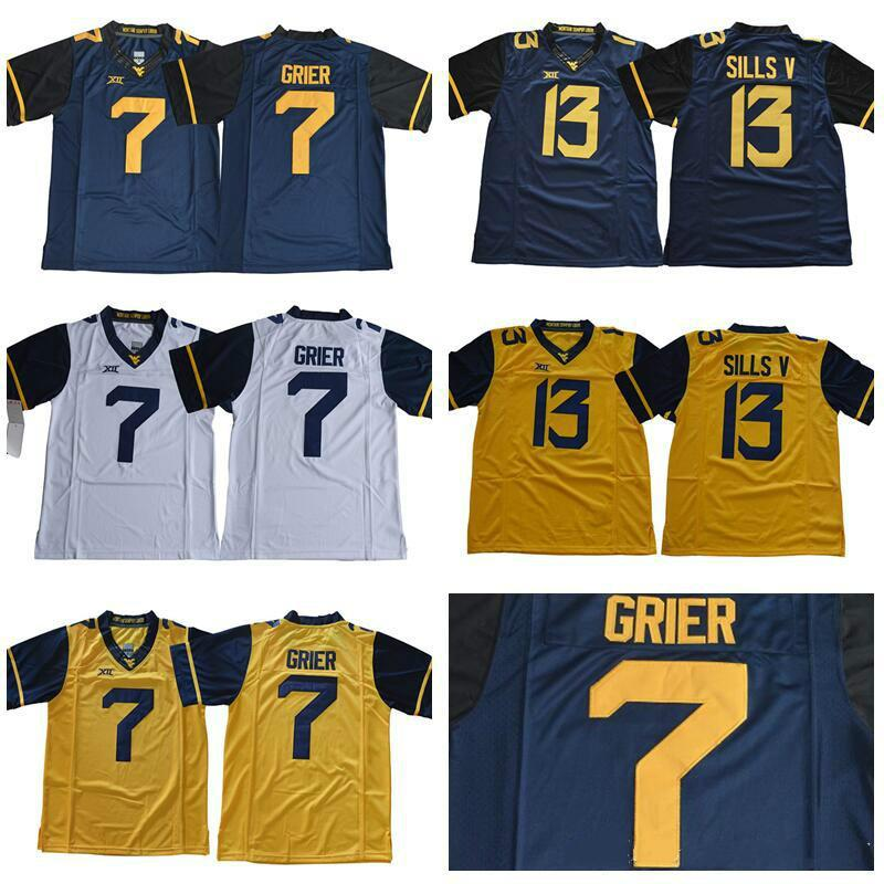 buy online 43d3c a73ad Mens West Virginia Mountaineers Will Grier College Football Jerseys  Stithced #7 Will Grier XII West Virginia Mountaineers Jersey S-3XL