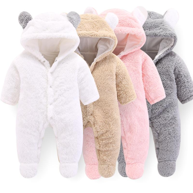 16d8943534b88 2019 Winter Baby Overall Newborn Baby Boy Clothes 0 3 Months Babies Hoodie  Fleece Footies Plush Jumpsuit Winter Overalls For Kids From Sightly
