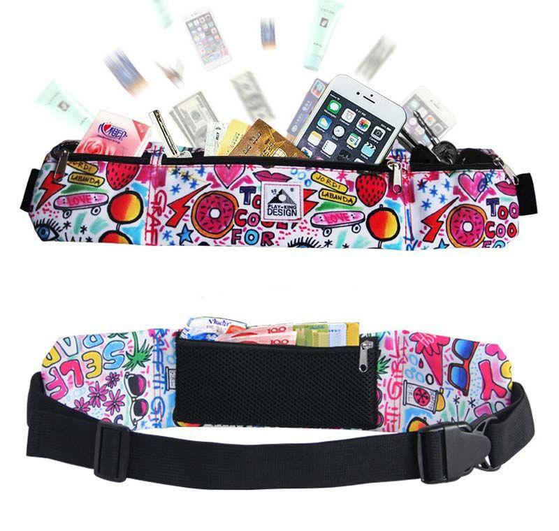 Operando Bolsa de cintura de la cintura Hombres Mujeres Oxford mezcla de colores Sport Packs impermeabiliza el teléfono móvil del bolsillo del Recorrido al aire libre