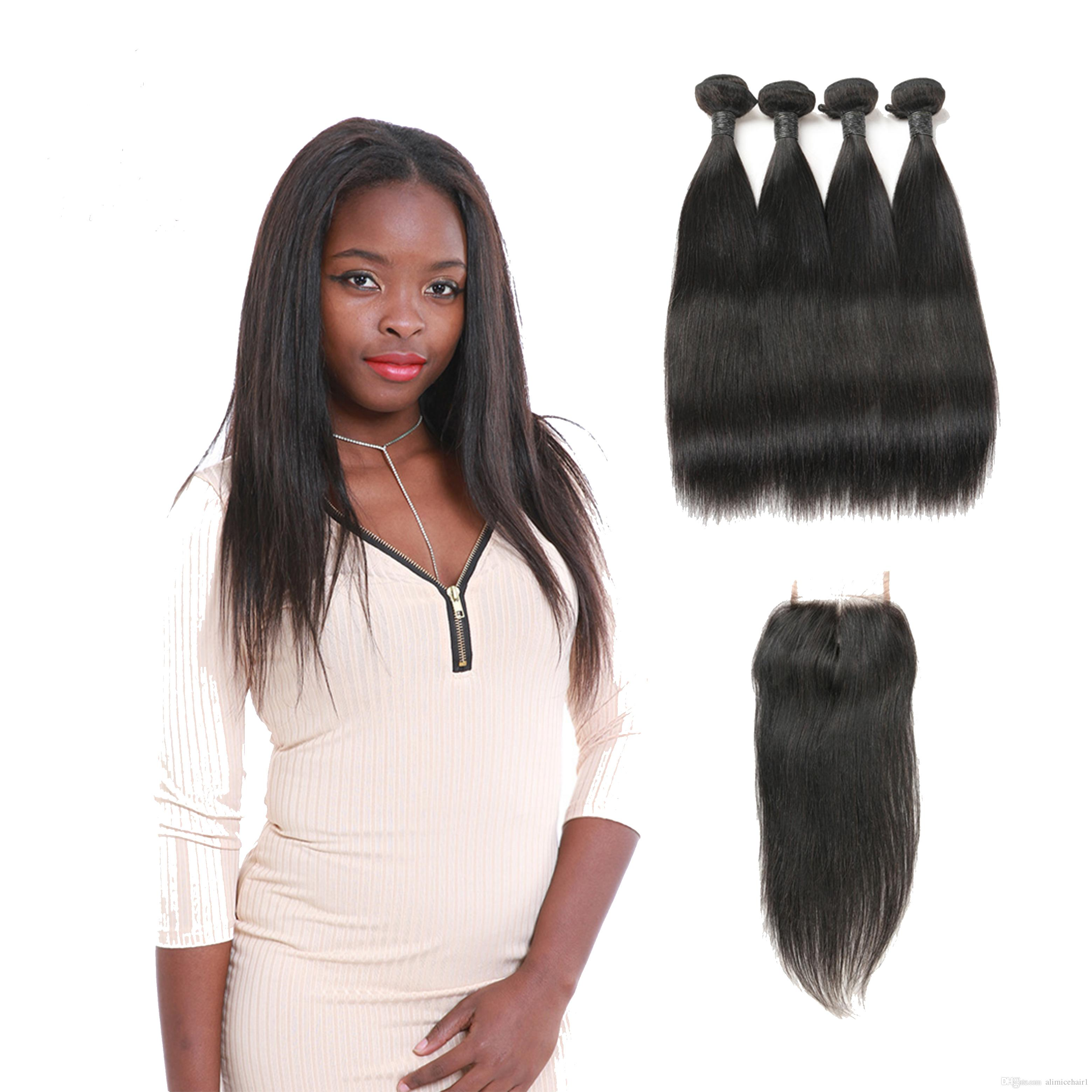 Indian Unprocessed Straight Virgin Human Hair Extension 4 Bundles Cheap With Middle Patr Lace Closure For Sale