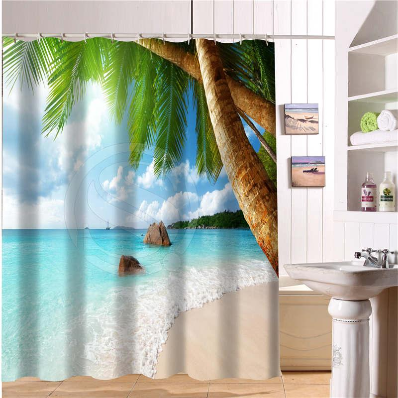 2019 Custom Shower Curtain Summer Beach Ocean Clouds Sky Sea Nature Fabric Modern Bathroom Waterproof High Quality Bath Curtains From Sophine11