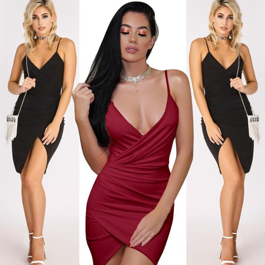 13d8d35ba3605 Summer 2018 Fashion Women Dress Sexy Low V-neck Spaghetti Strap Mini Dresses  Backless Party Sheath Dress Sexy Short Dress Vestidos Online with  $37.06/Piece ...