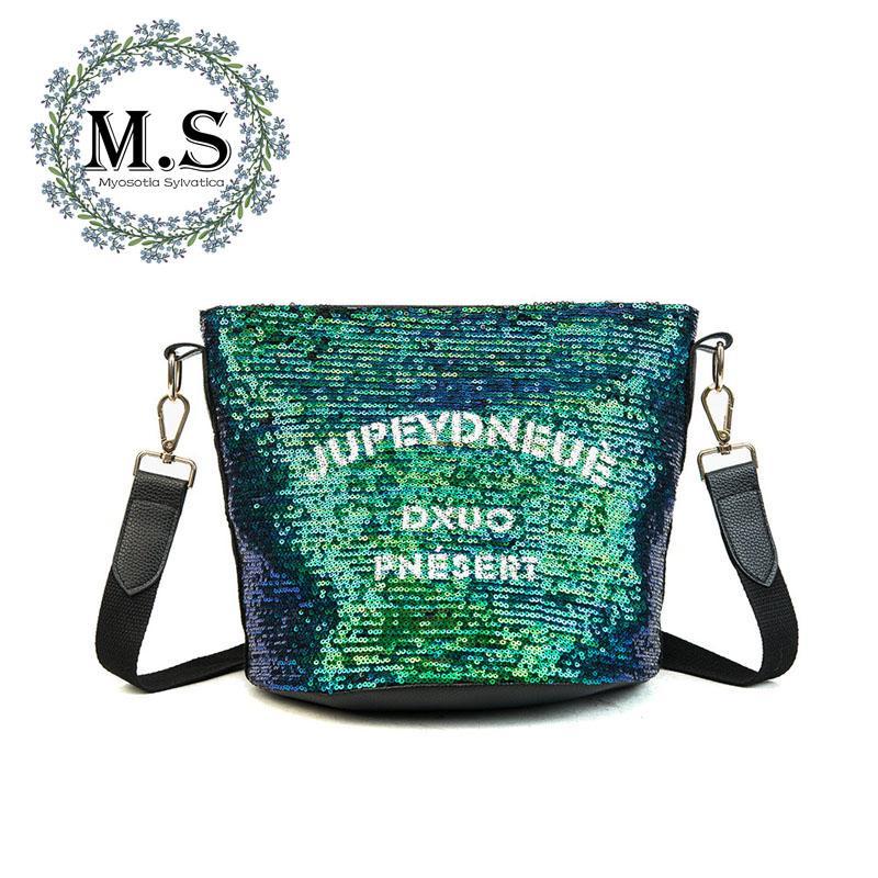 78ab327d7b M.S Shine Sequined Small Women S Handbags 2018 Letter Print Vogue Tote  Bucket Bags Zipper Quality New PU Crossbady Handbag WB368 Cheap Bags Cheap  Designer ...