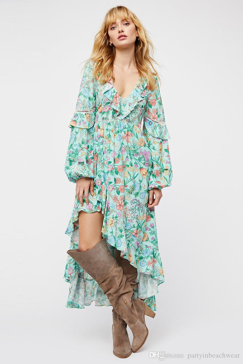 268f6c89c20 Boho Irregular Long Dress Chic Green Floral Print Sexy Backless V Neck  Ruffles Long Sleeve Dresses Women Maxi Bohemian Beach Holiday Dress Ladies  Dress ...