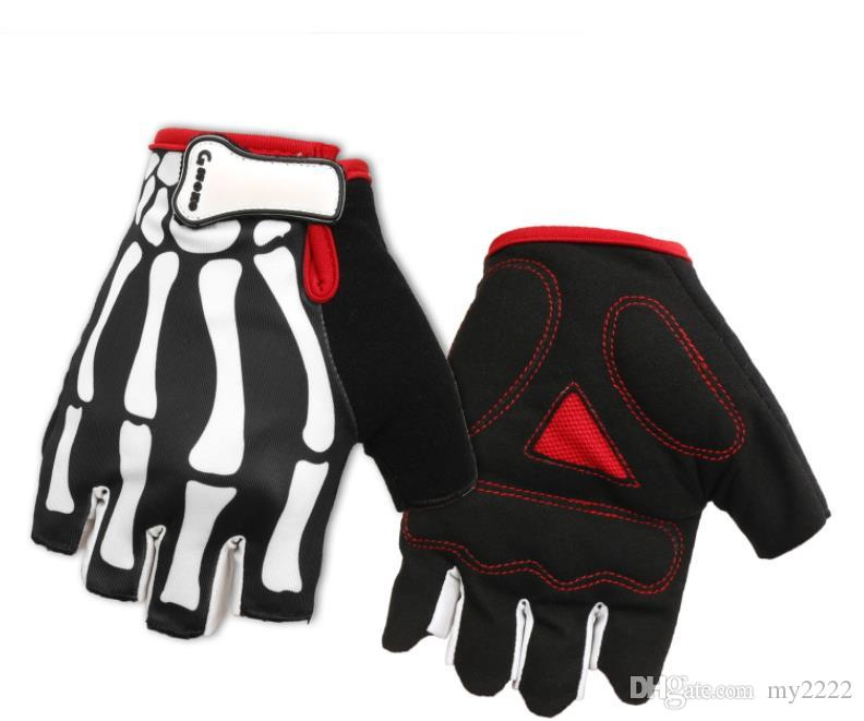 Bicycle half finger glove, mountain bike, ghost claw skeleton, cycling gloves, bicycle sports gloves