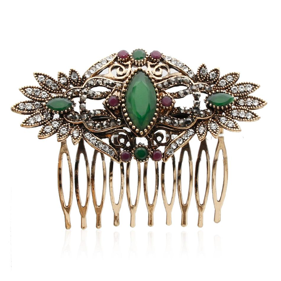Vintage Indian Resina Fiore Hairwear Hair Comb Hair Clips Forcelle Hijab Copricapo Comb Turco Sposa gioielli color oro antico