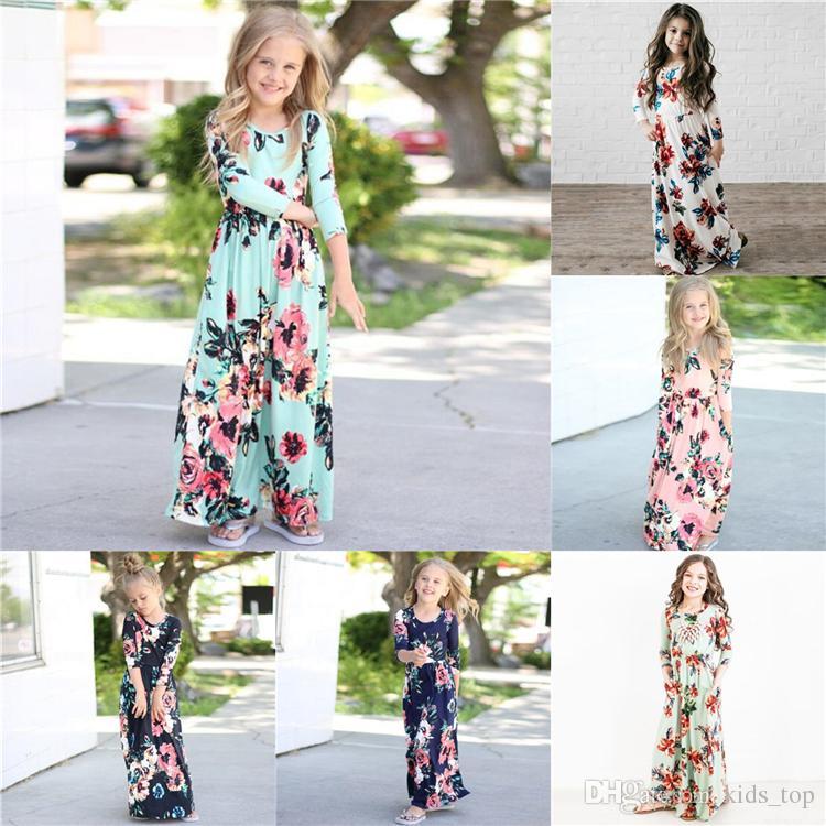 945ef8402 Compre Vestidos Para Niñas 6 Diseños Niñas De Manga Larga Princesa Floral Vestidos  Vestidos Para Niños Primavera Niña Vestidos De Flores De Playa Ropa Para ...
